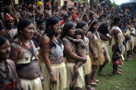 Munduruku Indians attend a meeting consisting of nearly 150 Indians, who are campaigning against the construction of the Belo Monte hydroelectric dam in the Amazon, in Brasilia. Talks between the Indians and the government were suspended a day after Air Force planes flew 144 Munduruku Indians to Brasilia for talks to end a week-long occupation of the controversial Belo Monte dam on the Xingu River, a huge project aimed at feeding Brazil's fast-growing demand for electricity. (Lunae Parracho/Reuters)