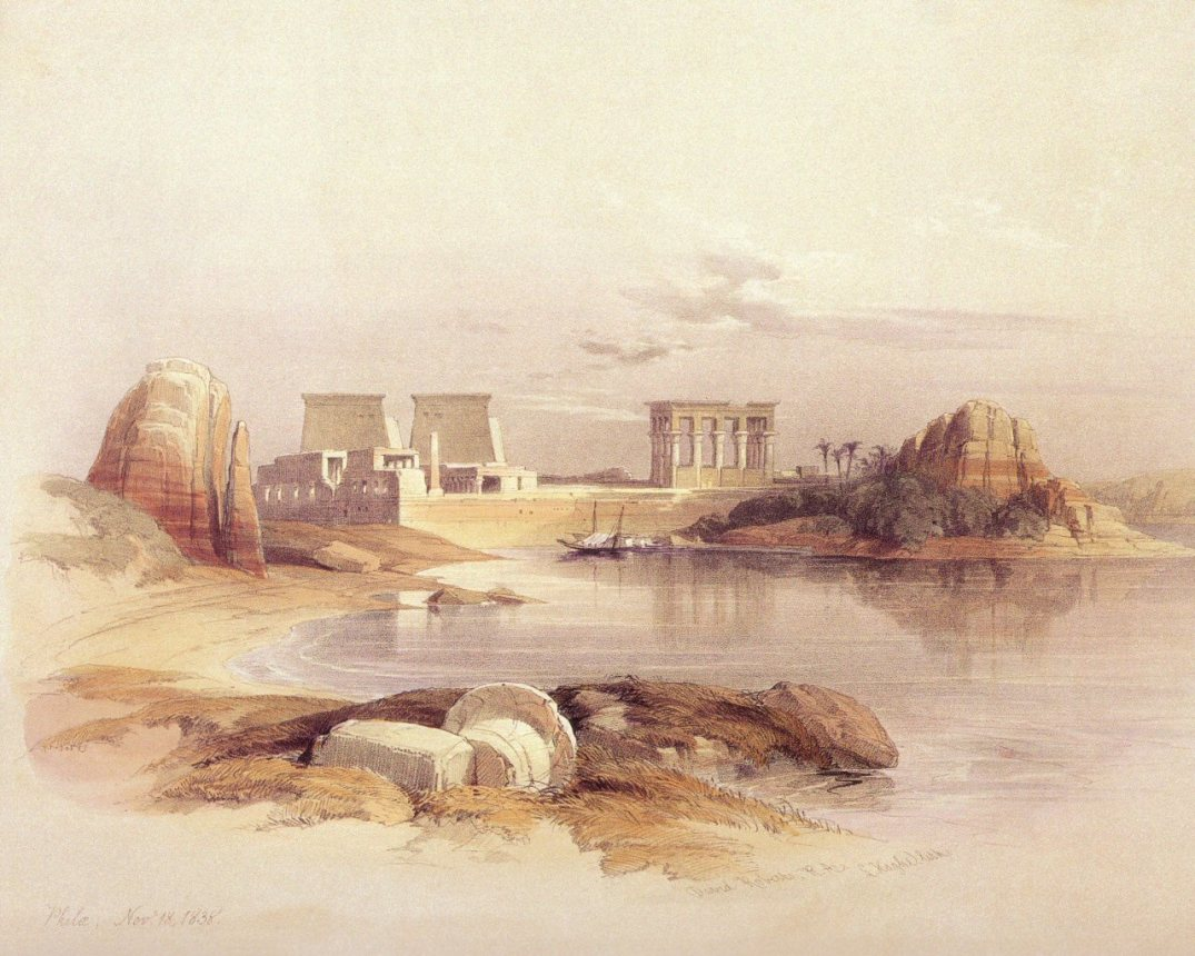 David Roberts - The Temples Of Philae Seen From The South